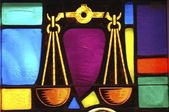 Stained Glass Window In Synagogue — Stock Photo