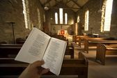 Prayer Book In Church, Rosedale, North Yorkshire, England — Stock Photo