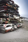 Pile Of Crushed Cars — 图库照片
