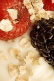 Close Up Of Berries In Yogourt — Stock Photo