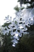 Snowflake Holiday Ornament On Tree — Stock Photo