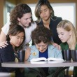Group Of Girls Praying For Senior Woman — Stock Photo