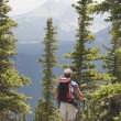 Stock Photo: Male Hiker Walking Down Trail At Nahahi Ridge