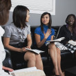 Women Talking And Laughing During A Bible Study — Foto de Stock