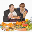 Stock Photo: Overweight MMaking Food Choices