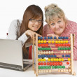 Teacher And Student Pointing At Abacus — Stock Photo