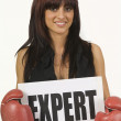 Female Boxer Holding And Expert Sign — Foto Stock