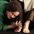 Mary Magdalene Wiping Jesus' Feet — Stock Photo