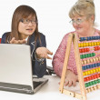 Student And Teacher Looking At Abacus — Stock Photo
