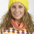 Pretty Woman Wearing A Sweater And Yellow Hat — Stock Photo