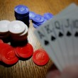 Playing Poker With A Full House Hand — Stock Photo #31934385