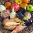 Mixed Fruit And Vegetables In A Basket — Stockfoto