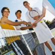 Tennis Players Shaking Hands — Stock Photo