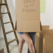 Couple Inside A Cardboard Box — Stock Photo