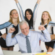 Cheerleaders Standing Behind Teacher — Stock Photo
