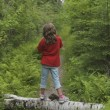 Young Girl Standing On Log, Lake Of The Woods, Ontario, Canada — Stock Photo