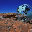 Globe On Rock — Stock Photo