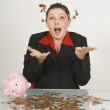 Businesswoman Throwing Pennies — Stock Photo