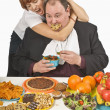 Stock Photo: WomTrying To Stop MFrom Overeating