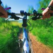 Cyclist's View Of Trail Bike — Stock Photo