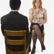 Nervous Woman At A Business Interview — Stock Photo
