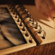Writing in a notebook — Stockfoto