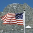 American Flag Flies In Front Of Clements Mountain, Montana, Usa — Foto de Stock