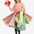 Woman Holding A Wallet And Gift Bags — Stock Photo