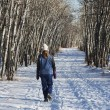 Woman Walking On Pathway In The Winter — Stock Photo