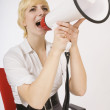 Blond Yelling Into A Bullhorn — Stock Photo