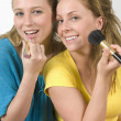 Women Putting On Make-Up — Stock Photo