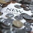 Stock Photo: New Testament Bible And Money