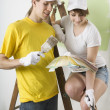 Couple Painting Wall — Stock Photo
