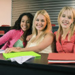 Stock Photo: Female College Students In A Classroom