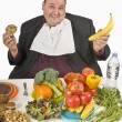 Overweight Man Making Food Choices — Stock Photo