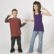 Siblings Pointing At Each Other — Stock Photo