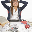 Frustrated Teenage Student Sitting At Her Desk — Foto Stock