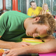 Male College Student Exhausted And Falling Asleep — Stock Photo