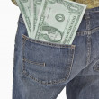 Oversized Dollar Bills In Back Pocket Of Jeans — Stock Photo