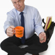 Stock Photo: Businessman Panhandling For Spare Change