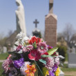 Bouquet Of Artificial Flowers At A Cemetery — Stock Photo