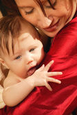 Mother Holds Baby In Arms After Bath Time — Stock Photo