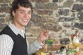 Young Man At A Sushi Restaurant — Stock Photo