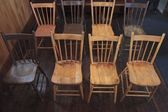 Wooden Chairs Set Up In Rows — Stock Photo
