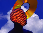 Silhouette Of Man With Binary Numbers And Cd Rom — Stock Photo