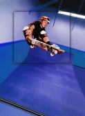 Skateboarder At Top Of Jump — Stock Photo