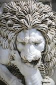 Statue Of Lion Biting A Horse — Stock Photo