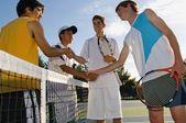 Tennis Players Shaking Hands — Stock Photo