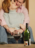 Couple Celebrates With Wine — Stock Photo