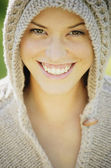 Woman Wearing Knit Hoodie — Stock Photo